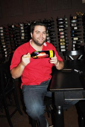 "Lucas Meeker with ""Handpring Merlot"", March 2, 2010"
