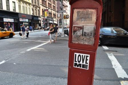 Love Me Sticker in New York City, June 2010