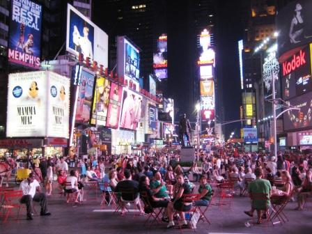 Times Square in New York City, Hopping on a Sunday Night