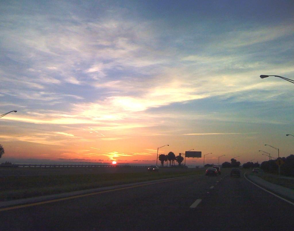 Sunset on I-275 North Before Sunshine Skyway Bridge, Sept. 10, 2010