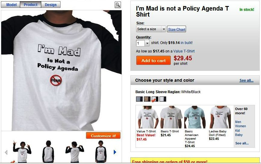 I'm Mad Is Not a Policy Agenda - T-Shirt for Rally to Restore Sanity