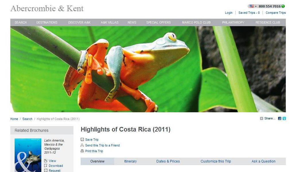 "Abercrombie & Kent - Waiving Single Supplement Fee on 'Highlights of Costa Rica"" Journey When Booked by Jan. 15, 2011."