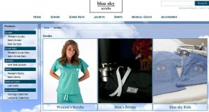 No More Frump Nursing Scrubs with blue sky scrubs