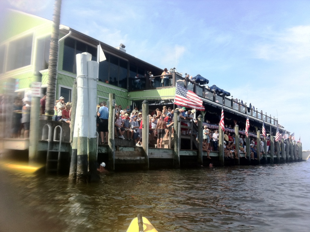 Reaching the Charlotte Harbor Freedom Swim Finish at Harpoon Harry's at Fishermen's Village, July 4, 2011