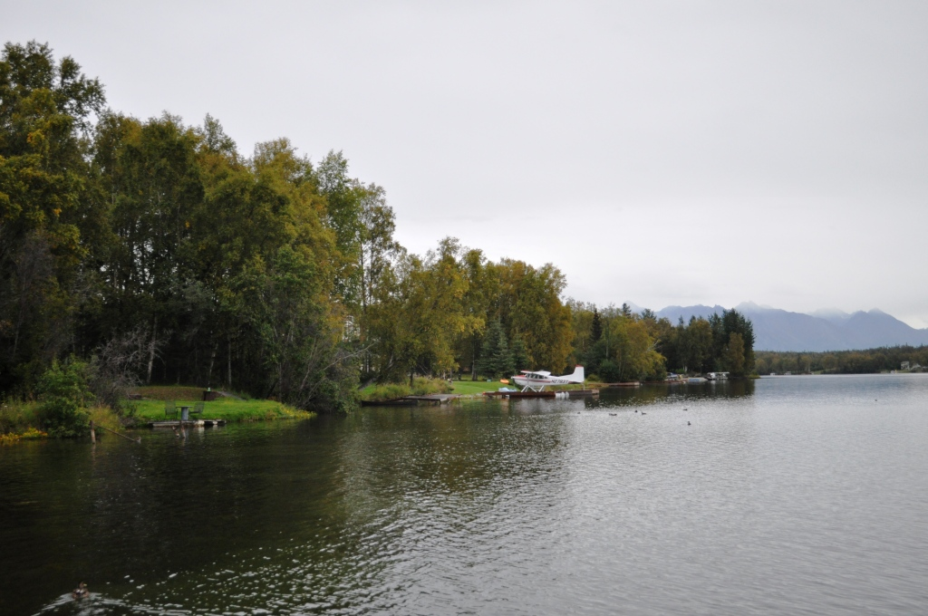 View of the Palin Compound (with the Sea Plane) from the Best Western Lake Lucille, Wasilla, AK