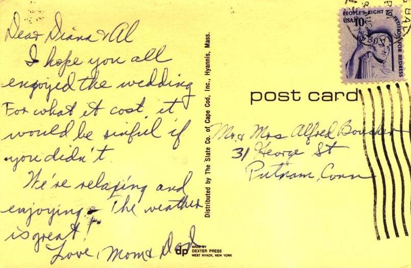 "Cape Cod Bay Postcard from 1977, ""Hope you enjoyed the wedding for what it cost."""
