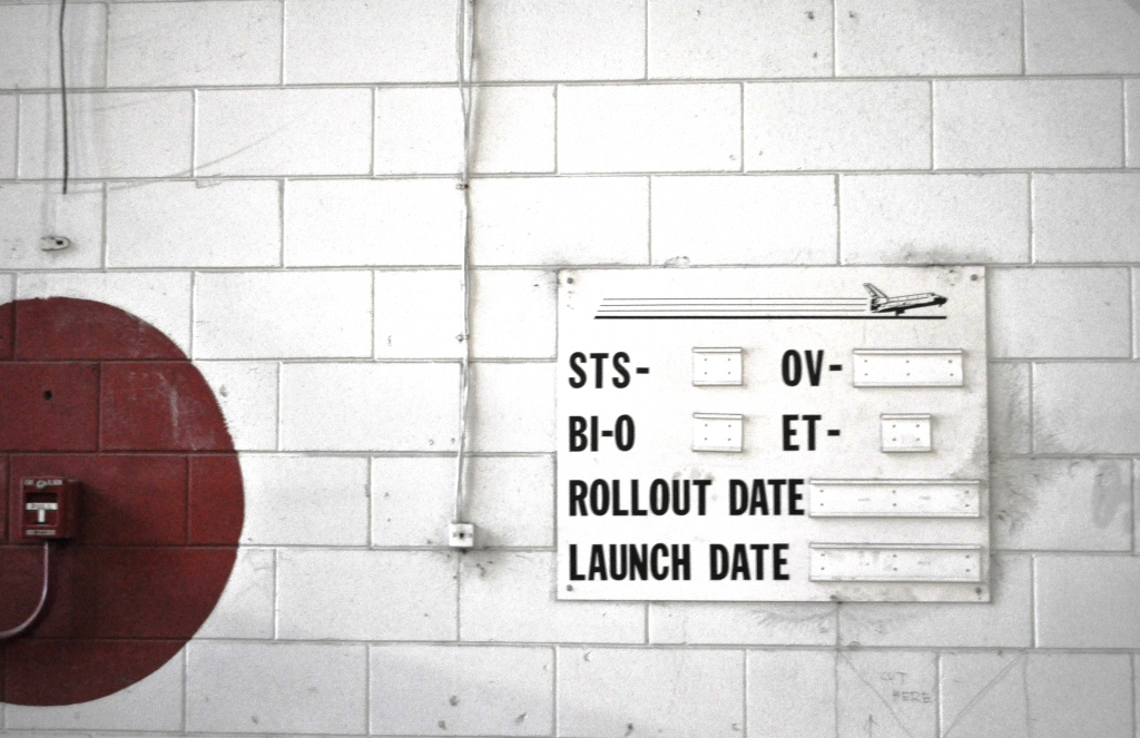 Space Shuttle Tracker Sign, Inside Vehicle Assembly Building, Kennedy Space Center, Fla., Nov. 25, 2011