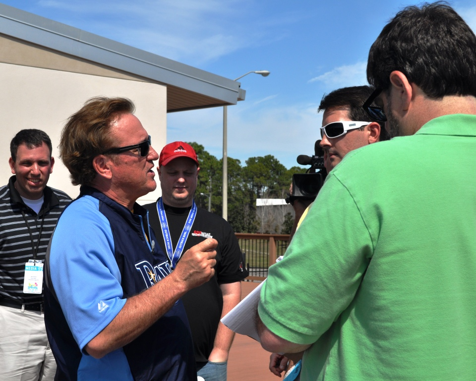 Tampa Bay Rays Manager Joe Maddon with His Auburn Colored Hair Speaks with Media, Port Charlotte, Fla., Feb. 20, 2012