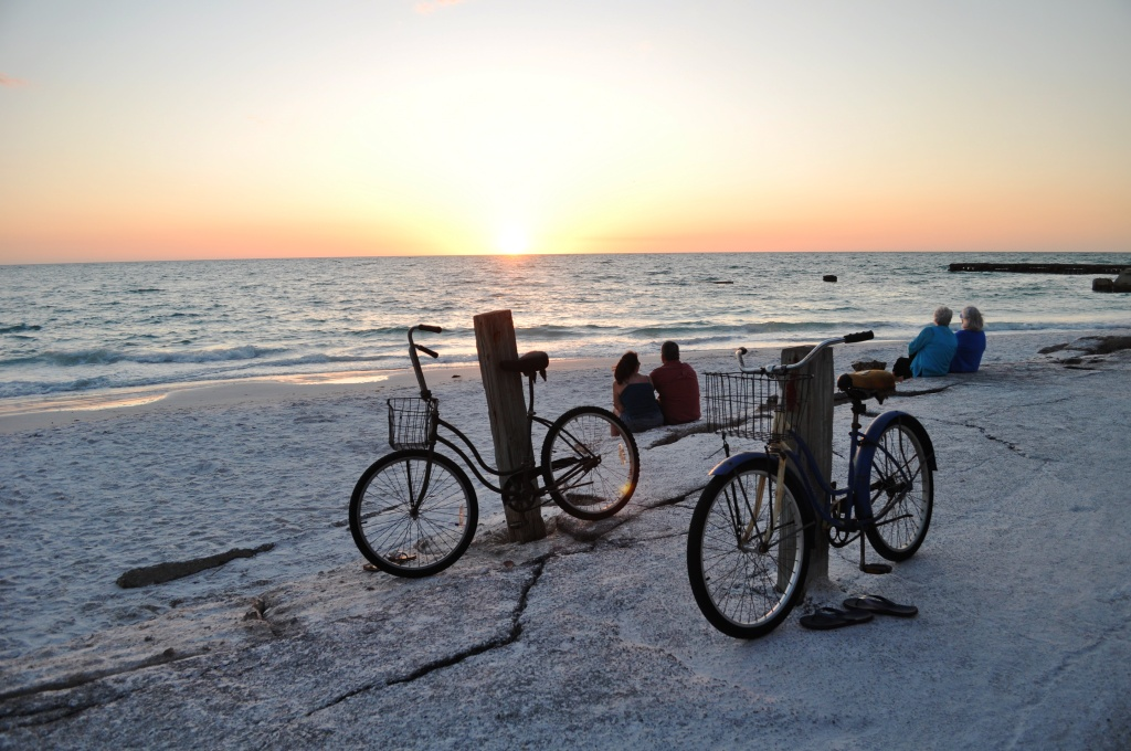Not Necessarily Pedaling Off into the Sunset. Bicycles on Siesta Key, Sarasota, Fla.