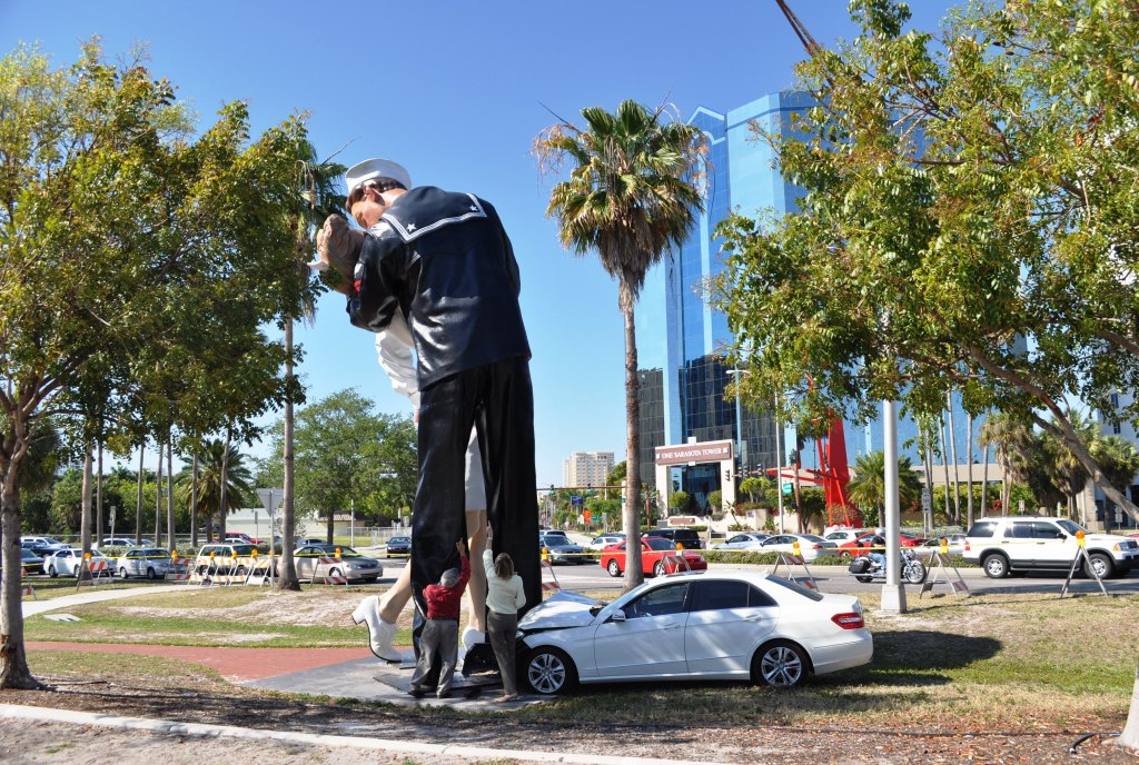 "Car Hits Foot of ""Unconditional Surrender"" , Sarasota, Fla., April 26, 2012"