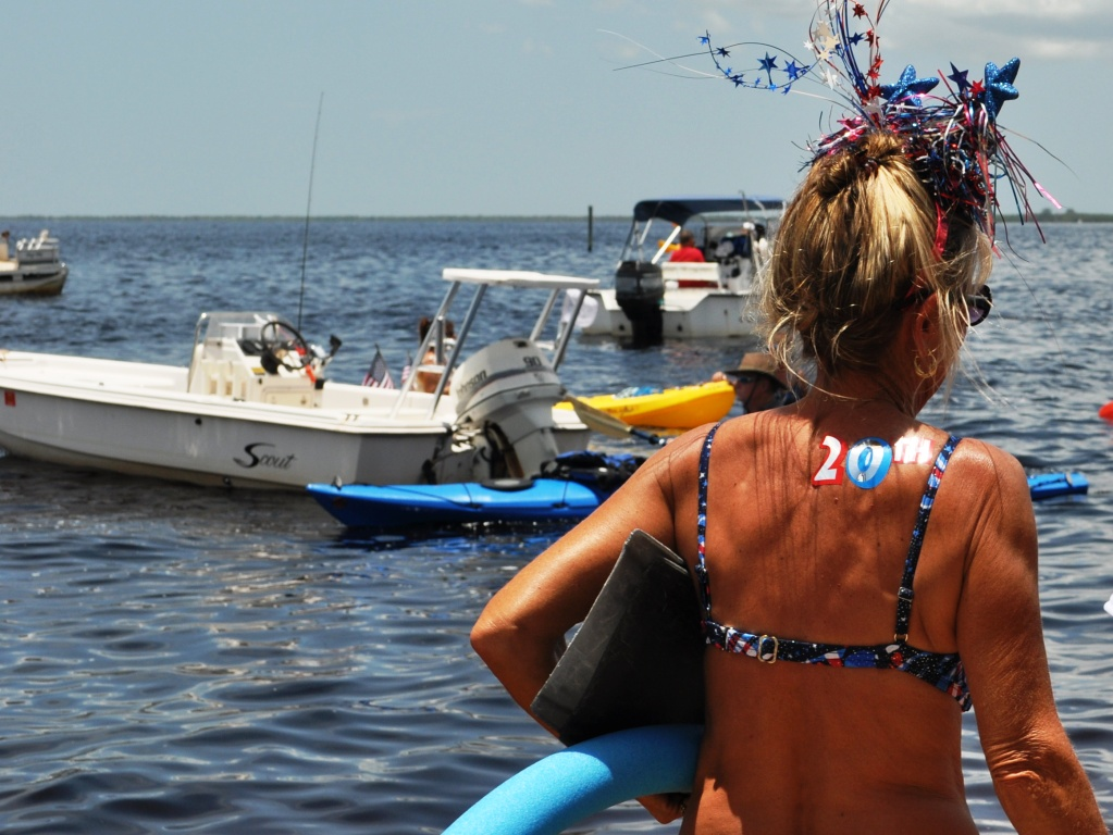 21st Annual Charlotte Harbor Freedom Swim Across the Peace River, Florida, July 4, 2012