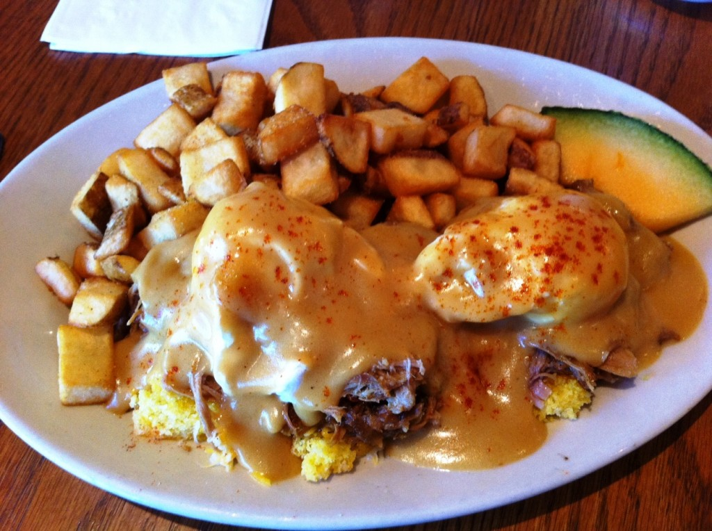 Taste Some Giddy Up in the Pulled Pork and Cheddar Bennie at Keystone's Haywood Cafe