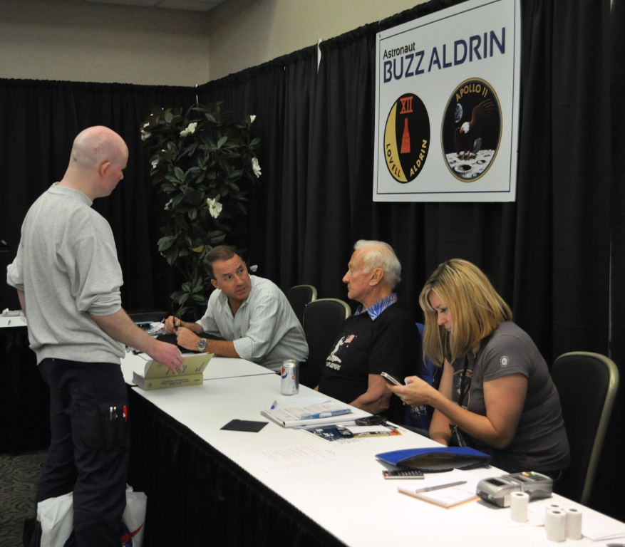 Astronaut Buzz Aldrin at the Astronaut Autograph and Memorabilia Show, Kennedy Space Center, Nov. 2, 2012