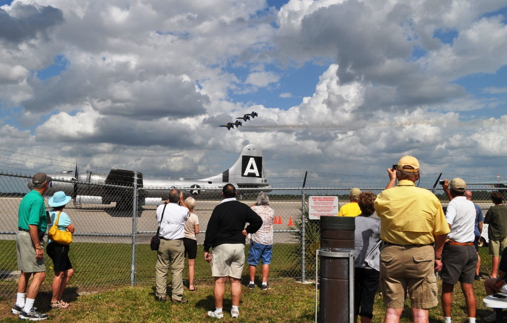 Spectators Watch the U.S. Navy Blue Angels Practice at the Punta Gorda Airport, March 22, 2012