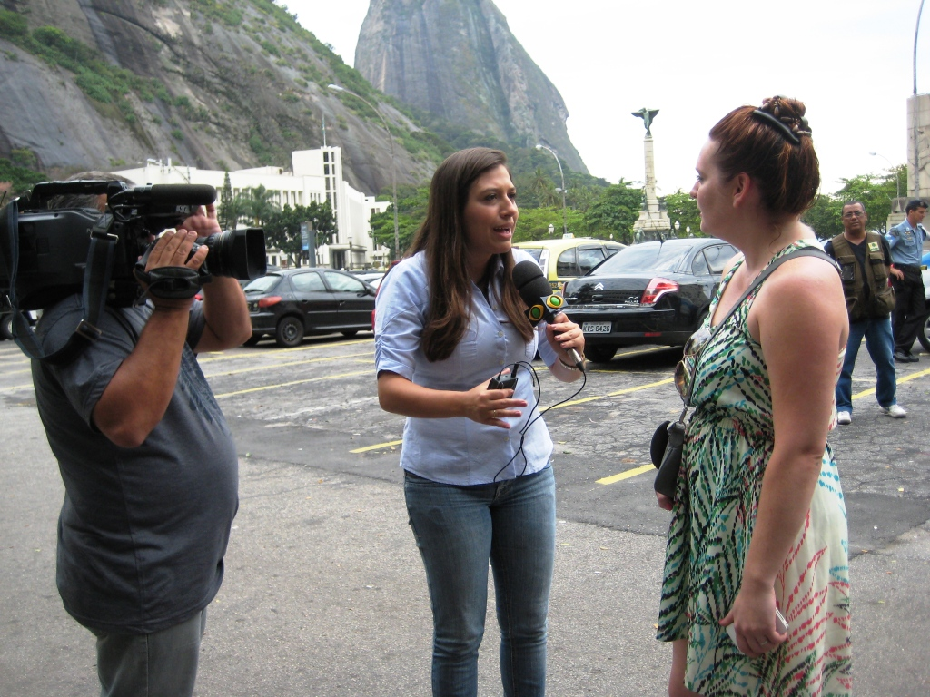 Lizzy Being Interviewed by Brazil TV About Visiting Rio de Janeiro