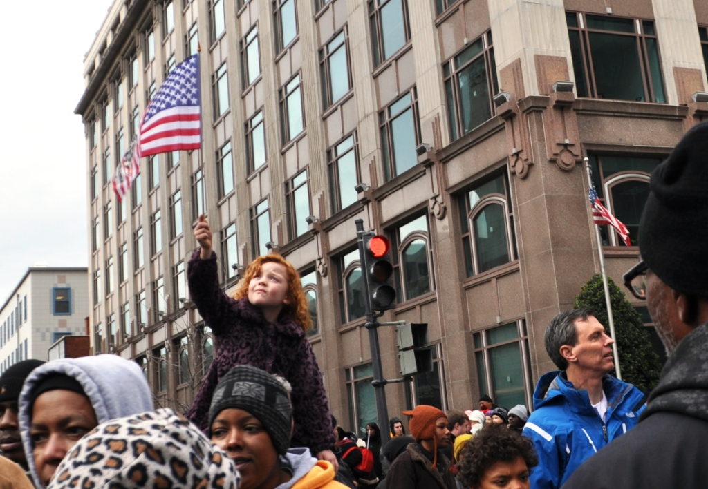 Little Redheaded Girl with an American Flag Departing the 57th Presidential Inauguration Ceremony, Washington, D.C., Jan. 21, 2013