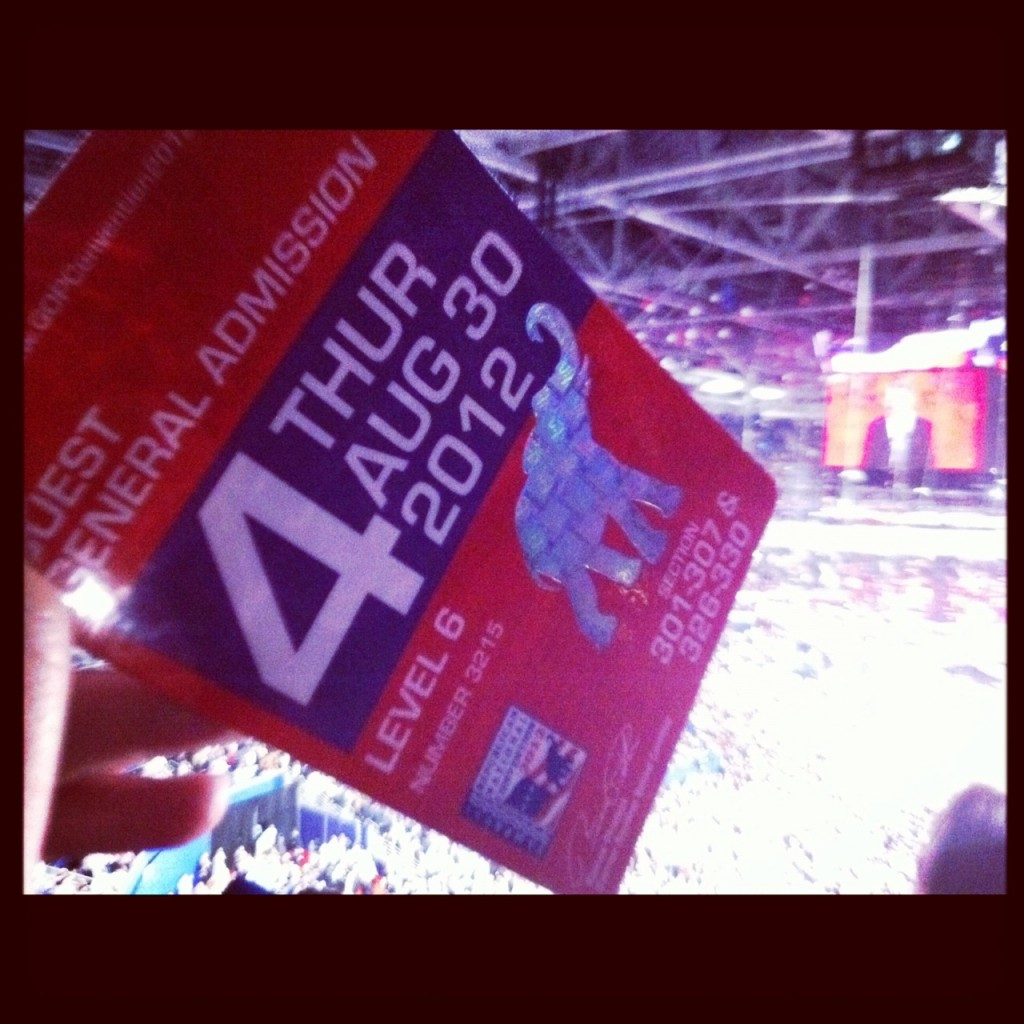Badge to the 2012 Republican National Convention in Tampa, Fla.