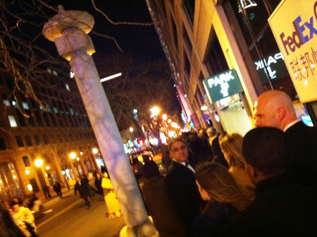 Standing Outside in 20-some-degree Weather Waiting to Enter the Convention Center, Jan. 21, 2013