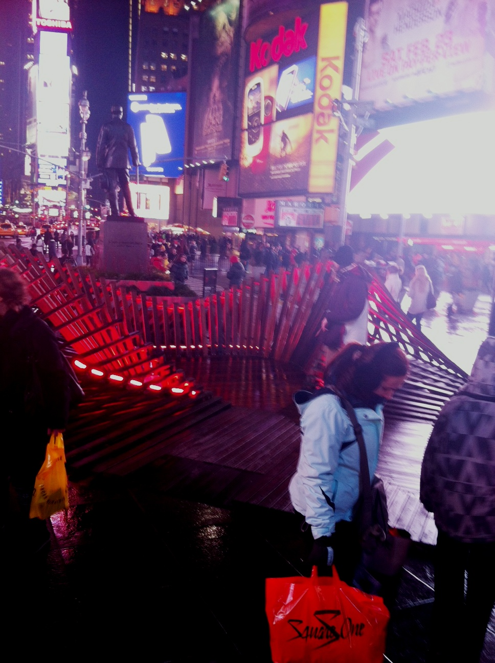 """Heartwalk"" in Times Square, the Sculpture was Designed by Situ Studio, it Includes New York and New Jersey Boardwalk Boards Salvaged from the Aftermath of Hurricane Sandy (2013)"