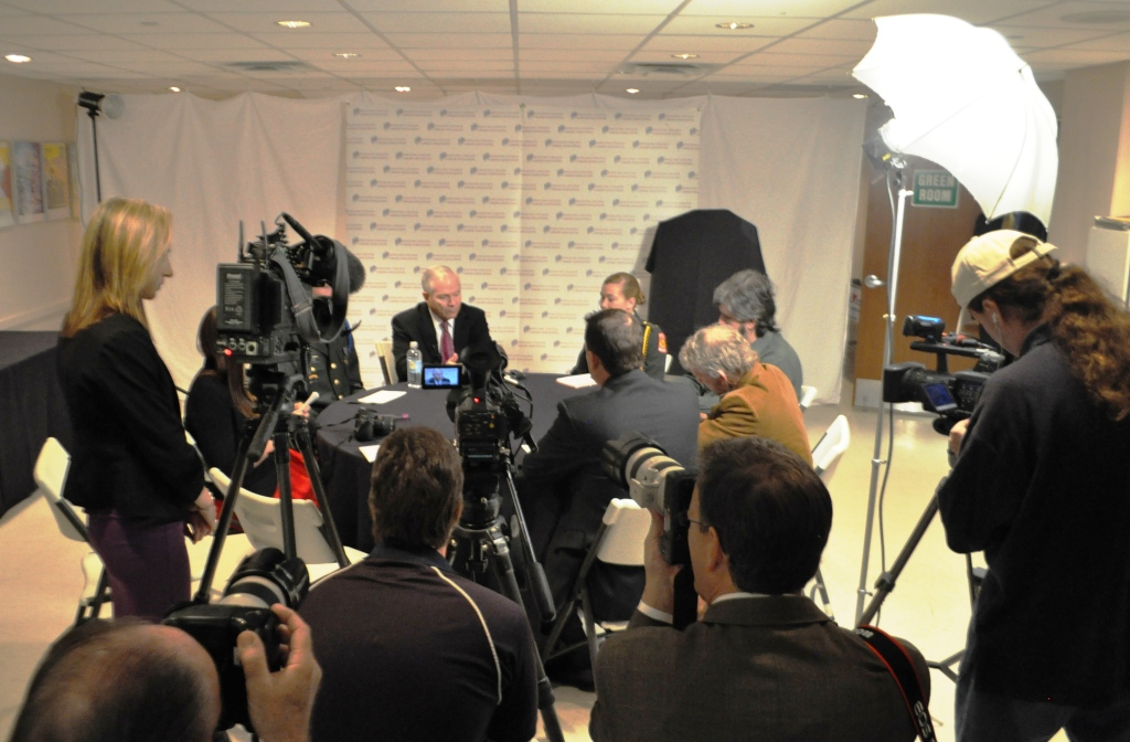Former U.S. Secretary of Defense Dr. Robert Gates during a Press Conference in Sarasota, Fla., Feb. 5, 2013.
