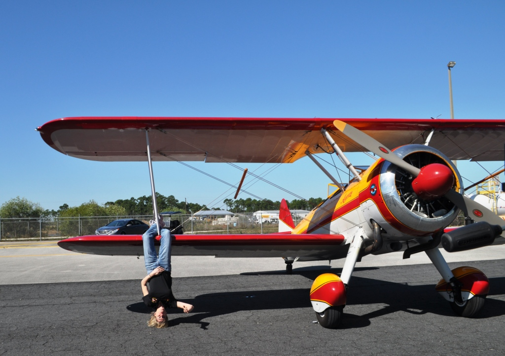 Wing Walker Jane Wicker Demonstrates Some of Performance for the Florida International Air Show, Punta Gorda, Fla., March 21, 2013