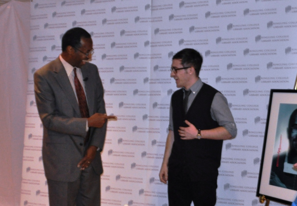 Dr. Ben Carson Shares a Laugh with Ringling College of Art & Design Student Chris Baldwin, Sarasota, Fla., Feb. 27, 2013