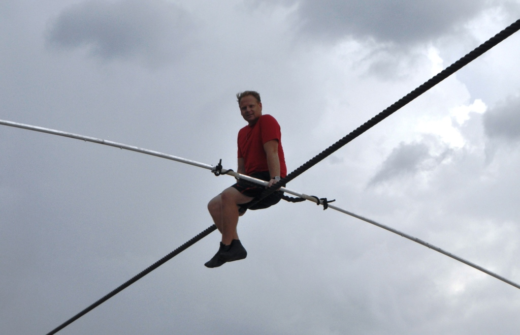 Nik Wallenda Takes a Break from Training for June 23, 2013 Grand Canyon Walk at Nathan Benderson Park, to Answer Questions by the Crowd, Sarasota, Fla., June 16, 2013