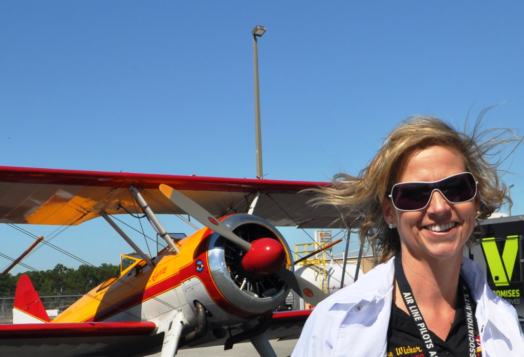 Jane Wicker, Wing Walker, at the Florida International Air Show Media Day, Punta Gorda, Fla., March 21, 2013