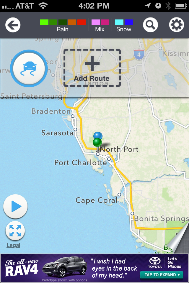 Screen Shot of The Weather Channel's Travel Route Planner