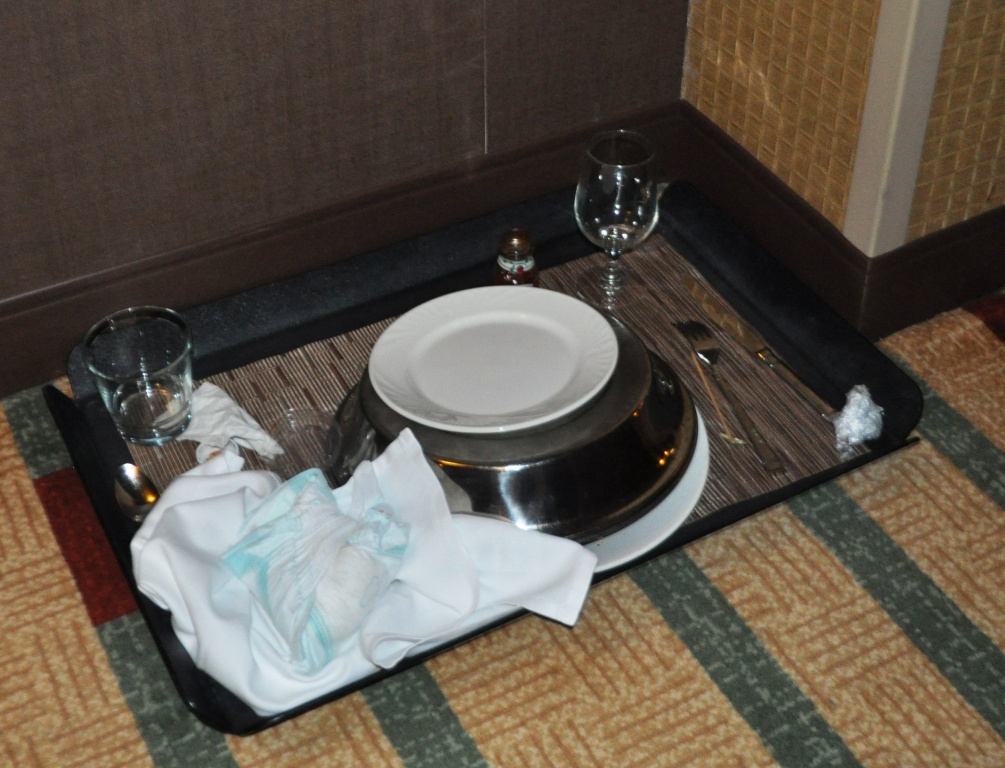 Is it Okay to Put a Used Diaper on a Room Service Tray?