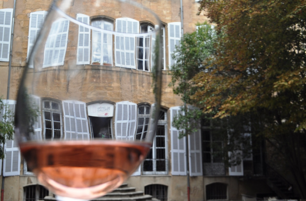 Viewing Hôtel de Gallifet in Aix-en-Provence, France, through a Glass of Rose Wine from Mas de Cadenet