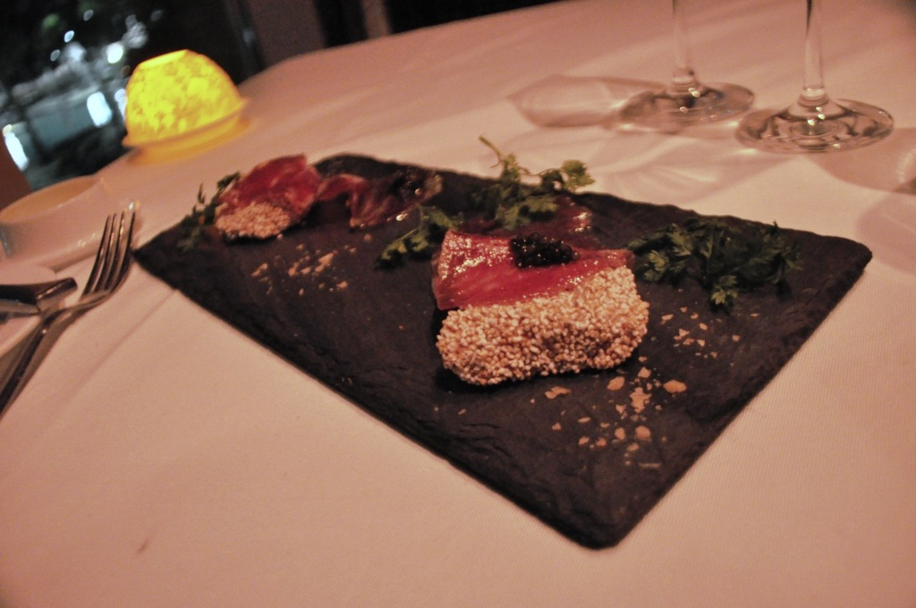 Prime Beef Paper, Am Aranth Cracker, Beluga Caviar at Bear & Bull Restaurant at Waldorf Astoria Orlando